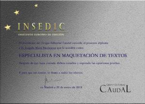 Diploma acreditativo Cursos de Maquetación INSEDIC