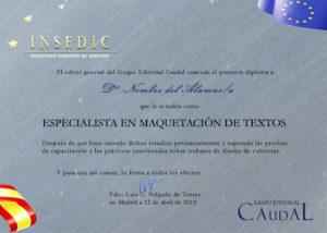 Diploma de los cursos de maquetación de INSEDIC